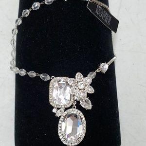 Silver statement Rhinestone necklace ,new